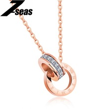 7SEAS Double Circles Pendant Roman Numerals Design Necklaces For Women Micro Paved Zircon Jewelry Necklace Souvenir Gifts,JM1187
