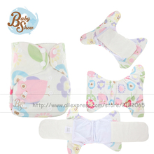 Babyshow Reusable AIO Printed Minky Cloth Diaper Lavables Fraldas Itself Insert 2 Pcs 3 Layer Bamboo Fabric Nappy Cloth Diaper