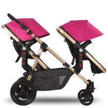 Rubber Wheels Baby Stroller Golden Frame Sleeping Basket Position Twins Stroller Baby Pram Jogger with 2 Seats