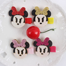 2017 new 4-color cartoon Mickey Mouse head hairpin long 40mm girls clip Hair Accessories for kids barrettes 1pcs BM065
