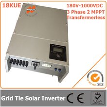 18000W/18KW 180V-1000VDC Three Phase 2 MPPT Transformerless Waterproof IP65 Grid Tie Solar Inverter with CE RoHS Certificates