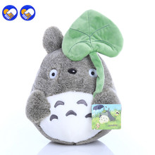 A toy A dream 25cm lovely plush toy, my neighbor totoro plush toy cute soft doll totoro with lotus leaf kids toys Cat(China)