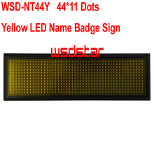 WSD-NT44Y Yellow LED Name Badge Sign Rechargeable Yellow LED name tag led name badge 44*11 Temperature display function 2pcs/lot(China)