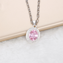 HOMOD Drop Shipping Women's Accessories 2017 Pendant Romantic Pink Silver Necklace Women Zircon Wedding Jewelry