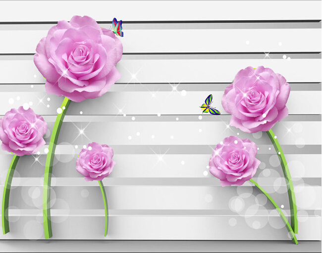 Custom flowers wallpaper 3D, purple rose murals for the living room bedroom TV background wall waterproof wallpaper<br>