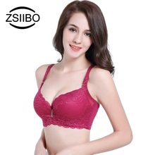 ZSIIBO Autumn Winter Women Sheer Lace Bralette Bra BH Push Up Lace Bra Adjustable Lingerie Plus Size Bras For Women Underwear(China)