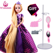 UCanaan 30CM Princess Dolls Rapunzel Long Hair Fashion Toys Joint Moving Body Long Thick Blonde hair Birthday Girl Gift doll(China)