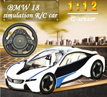 New I8 RC car 1:12 concept vehicle  G-sensor Steering wheel rechargeable competition car with light music kid's toys
