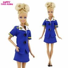 One Set Fashion Outfit Party Cosplay Dress Stewardess Uniform Blue Police Clothes Shoes For Barbie Doll Clothes Pretend Play(China)