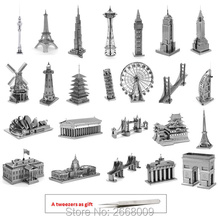 3D Jigsaw puzzle Famous Buildings 3d metal puzzle kids toys present for children and adults vs metal earth educational toys