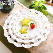Europe Heart Shape Emboss Bone China Dishes And Plates Cake Fruit Pastry Porcelain Tray Steak Noodle Dish Lover Tableware(China)