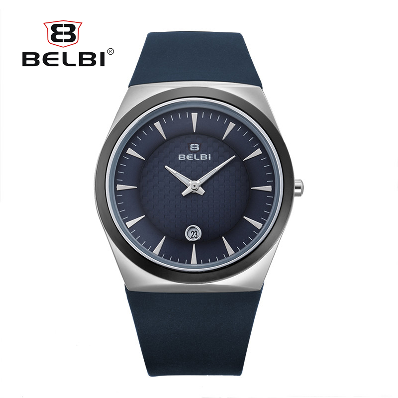 BELBI New Brand Fashion Business Men Watch Silicone Calendar Casual Quartz Watches Silver Military Wristwatch Relogio Masculino<br>