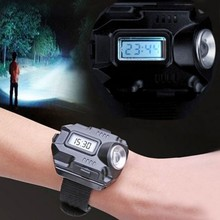 Hot Sale New Brand Outdoor Tool Safe Night Tactical Outdoor LED Display Rechargeable Wrist Watch Flashlight Torch 2017