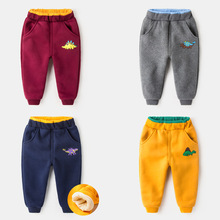 High quality Winter With velvet thickening Cotton sports boys girls pants Keep warm baby Dinosaur harem trousers kids clothes(China)