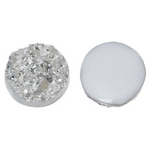 DoreenBeads Resin drusy Embellishment cabochon Findings Round Silvery white 12mm Dia, 50PCs(China)