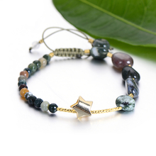 VEKNO Minimal Star Natural Stone Bead Strand Bracelet Women Adjustable Rope Charm Green Agates Bracelets Drusy Quartz Jewelry