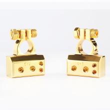 BEST 2PCS Heavy Duty Metal Gold Plated Gauge Car Battery Terminal Positive/Nagative F 0/1 2 4 8 AWG Positive & Negative 2 In 1