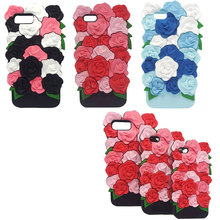 Valentine Gift 3D Rose Flower Romantic Coque Soft Silicone Phone Back Cover Case For iPhone 8 6 7 6S Plus 5 5S SE Sleeve