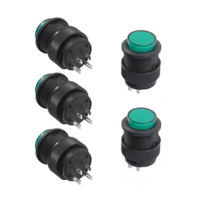 Promotion! 5 Pcs 4 Latching Type Green LED Lamp Round Push Button Switch DC 3V