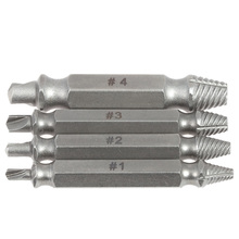 4PCS/Set Double Side Damaged Screw Extractor Drill Bits Out Remover Bolt Stud Tool S2 Alloy Steel