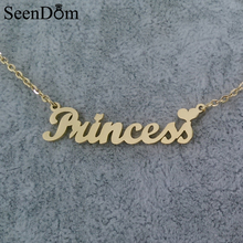 "Sweet Gift Gold Color ""Princess"" Heart Name Necklace Stainless Steel Handwriting Nameplate Choker Necklace Love For Girls"