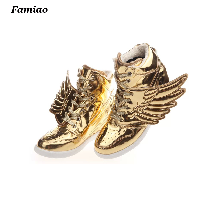 2017 New Fashion ladies ankle boots Women hidden wedges gold high top shoes Round toe Women western boots shoes woman<br><br>Aliexpress