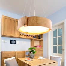 Solid Wooden bar simple LED Pendant Lights log restaurant lights creative personality round wood round pendant lamp ZA