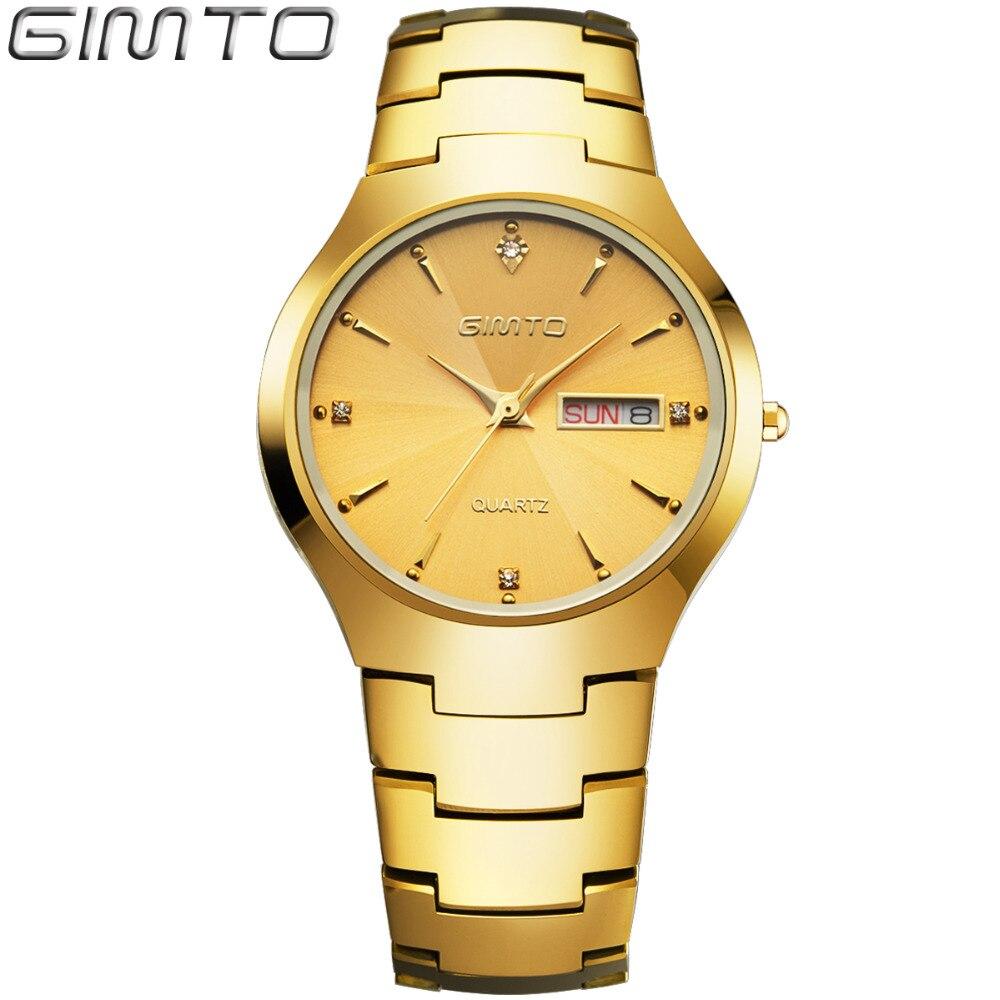 2016 GIMTO Fashion Tungsten Steel Mens Watch Quartz Wristwatch Lovers Waterproof Watch Clock Reloj Hombre Relogio masculino<br>