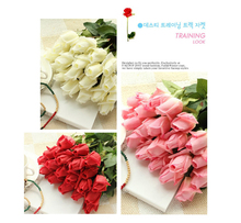 5-15Pcs Valentines Day Gifts Real Touch Flowers Rose Silk Flowers Latex Artificial Flowers For Wedding Decoration Fake Flowers(China)