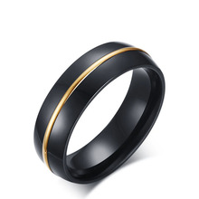 New Collection IP black plating Brilliant gold color round engagement Ring Fine Jewelry Anillos Drop Shipping size  7 8 9 10 11