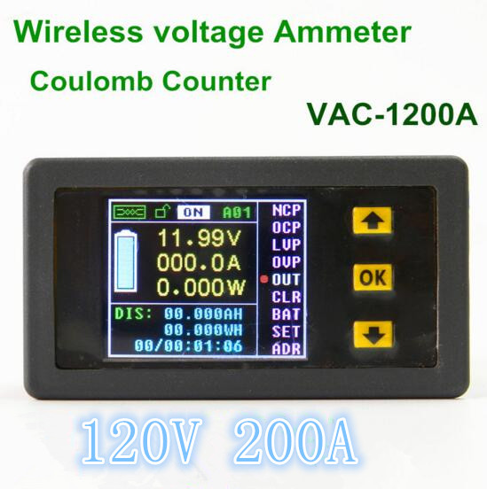 VAC1200A  Color LCD Wireless Voltage Current  meter Coulomb Counter for current power capacity watts 120V/200A<br>