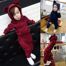Cute ear Children girls clothing set female baby autumn Baby boys  velvet suit spring autumn boy sports sweater two-piece set