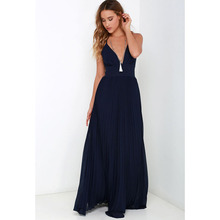 Maxi Sun Dresses Chiffon Solid O Neck Pleated Floor Length Long Backless Womens Sexy Party Night Club Dress Vestidos De Fiesta(China)