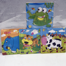 Baby Cartoon Animal Wooden Jigsaw Puzzles Board Children Kids Toys Educational Early Learning Fun Games Tiger Bee Frog Cow Koala