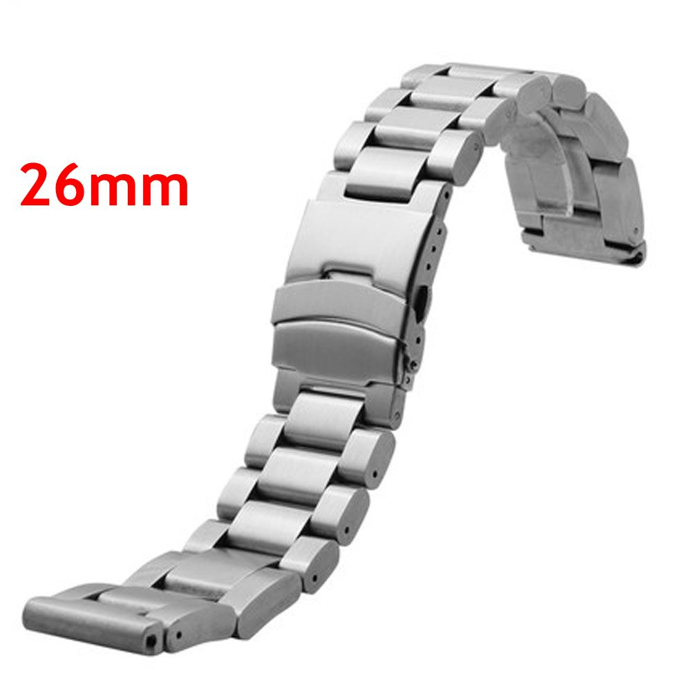 2016 New Men Womn Watch Band 26mm Silvery Stainless Steel Strap for Hours with Folding Claps with Safty Replacement GD013526<br>