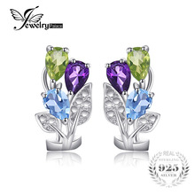 Buy JewelryPalace Flower Multicolor 2.5ct Genuine Amethyst Peridot Blue Topaz Clip Earrings Genuine 925 Sterling Silver Jewelry for $17.99 in AliExpress store