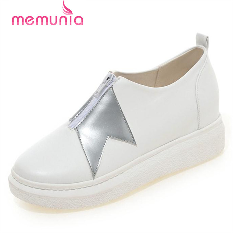 MEMUNIA Round toe shoes women zipper mixed colors loafers big size 33-42 fashion contracted flat platform shoes <br><br>Aliexpress
