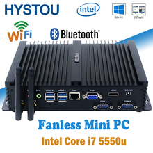 New Processor Intel Core i7 5550u Fanless Mini Computer/Mini PC 12V/Fanless Desktop PC/Small PC i7 5550u VGA + HDMI 4GB 128G
