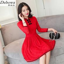 Debowa Vintage Lace Dress Women 2017 New Spring Womens Dresses 3/4 Sleeve Slim Princess Dress Beautiful School Dress China Style