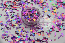 TCA901  laser holographic Peach color Tie shape 5mm Size Glitter paillette  spangles for Nail Art  and DIY supplies