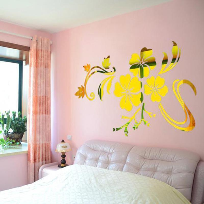 HTB1aEjjSFXXXXc9aXXXq6xXFXXXH - 3D Flowers Vine Pattern Mirror Acrylic Wall Stickers Home Decoration DIY Gold Silver Living Room Wall Sticker Decor