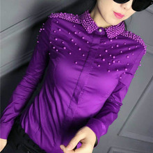 2017 Spring fashion 6 color long sleeve hard bead work cotton shirts women work wear office bead work blouses body cotton tops(China)
