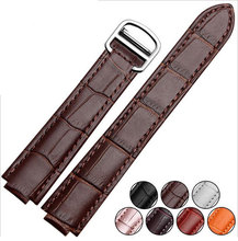 High quality Black/ Brown/ Orange/Pink/white/Red/purple Crocodile lines Genuine Leather watch strap genuine leather Watch Band
