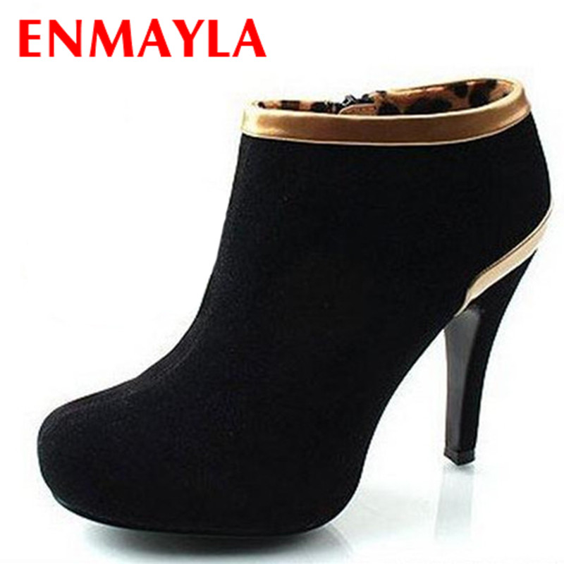 ENMAYLA Retro Ankle Boots Women High Heels Platform Pump Suede Short Shoes Woman Vogue Boots Drop Shipping Black Red Gray<br><br>Aliexpress