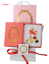 KC15 New Key chain France  Macarons Effiel Tower Keychains New Year Gifts w Box Ribbon Handbag Red free shipping