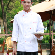 Fashion Restaurant Hotel Kitchen Chef Jackets Coats Uniform Larerality Collar Double Breasted Removable Buttons Long Sleeve
