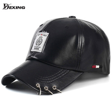 [Dexing]2017  fashion black pink unisex Pu leather fashion hip hop ring baseball cap women men snapback caps  curved hats