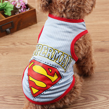 Fashion Summer Breathable Cotton Superman Pattern Dog Clothes Sport Style Vest T-shirt With Patterned Pet Clothing DC25(China)