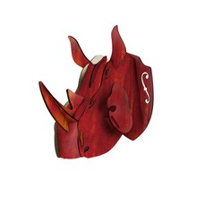 MOYLOR DIY Rhinoceros Head Wall Hanging Crafts Animal Wall Decor Wooden Decors Living Room Creative Design American G $(China)