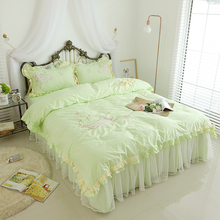 Elegant Pastoral Bedding Set Embroidery Flower Double Ruffle Douvet Cover  Lace Bedspread Quality Fabric Bed Sheet